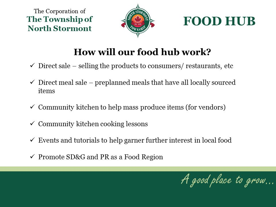 A good place to grow… The Corporation of The Township of North Stormont FOOD HUB Direct sale – selling the products to consumers/ restaurants, etc Direct meal sale – preplanned meals that have all locally sourced items Community kitchen to help mass produce items (for vendors) Community kitchen cooking lessons Events and tutorials to help garner further interest in local food Promote SD&G and PR as a Food Region How will our food hub work