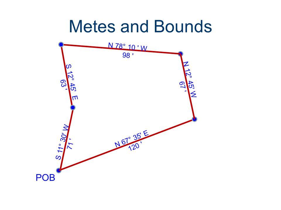 Metes and Bounds POB N 12° 45' W 67 ' N 67° 35' E 120 ' N 78° 10 ' W 98 ' S 12° 45' E 63 ' S 11° 30' W 71 '