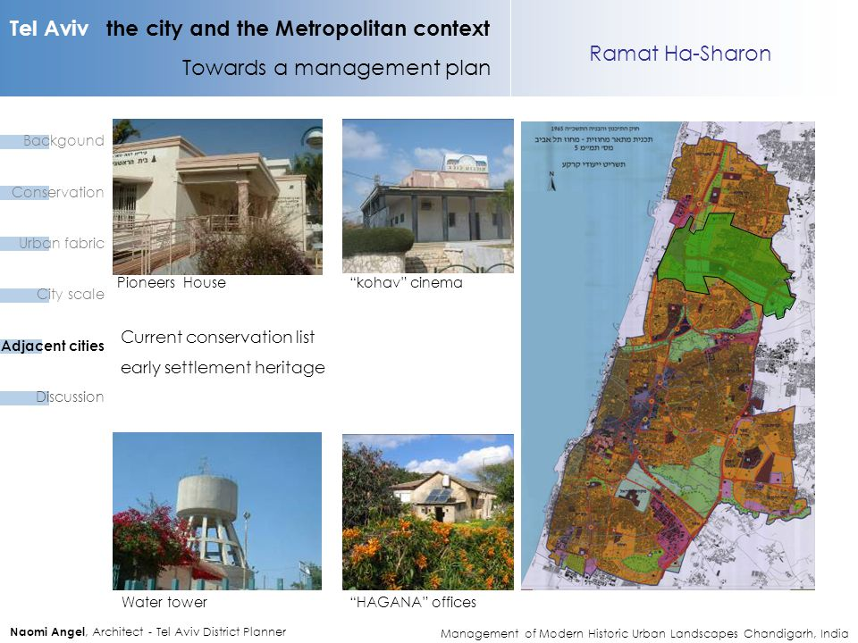Tel Aviv the city and the Metropolitan context Towards a management plan Naomi Angel, Architect - Tel Aviv District Planner Ramat Ha-Sharon kohav cinemaPioneers House Water tower HAGANA offices Current conservation list early settlement heritage Backgound Conservation Urban fabric City scale Adjacent cities Discussion Management of Modern Historic Urban Landscapes Chandigarh, India