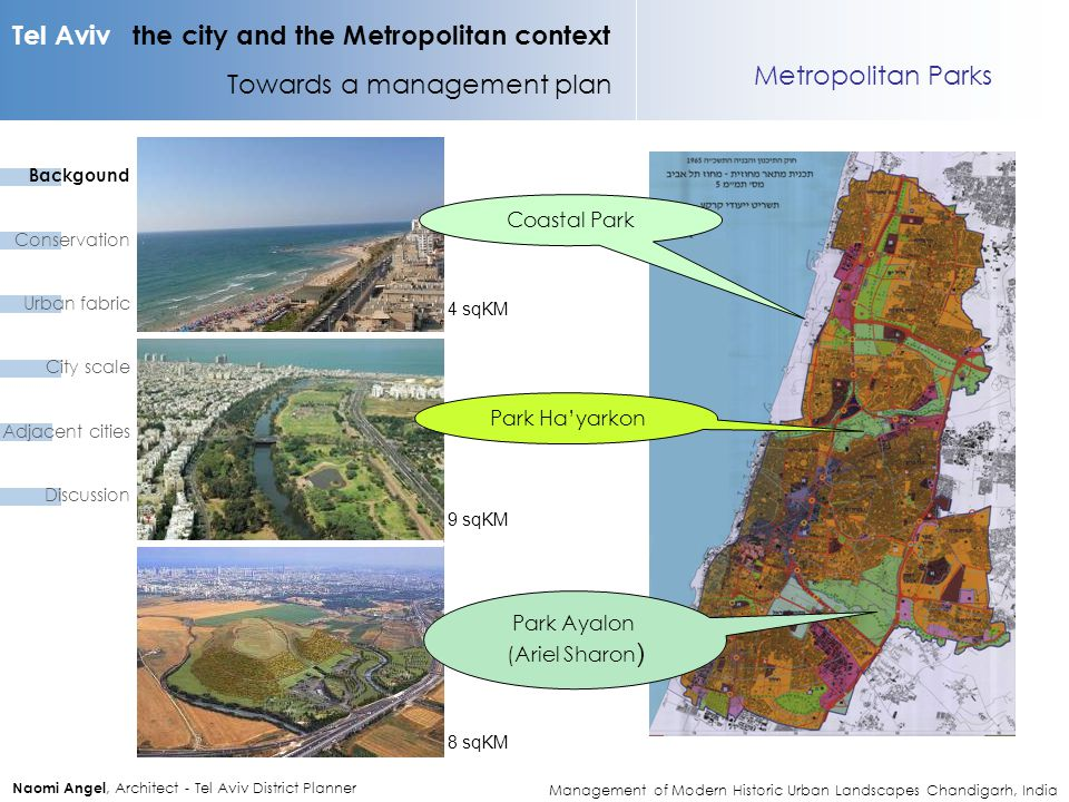 Tel Aviv the city and the Metropolitan context Towards a management plan Naomi Angel, Architect - Tel Aviv District Planner Metropolitan Parks Park Ay