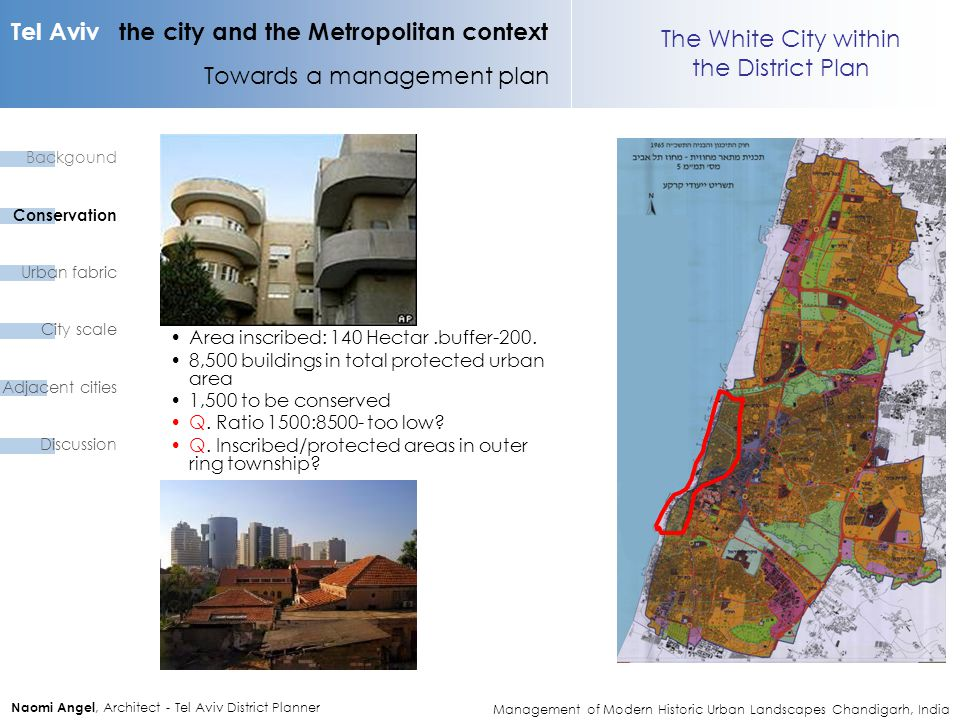 Tel Aviv the city and the Metropolitan context Towards a management plan Naomi Angel, Architect - Tel Aviv District Planner The White City within the