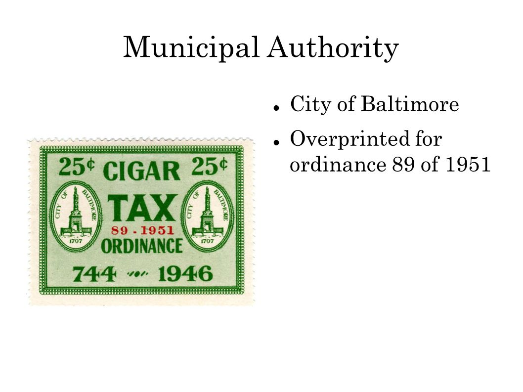 Municipal Authority City of Baltimore Overprinted for ordinance 89 of 1951