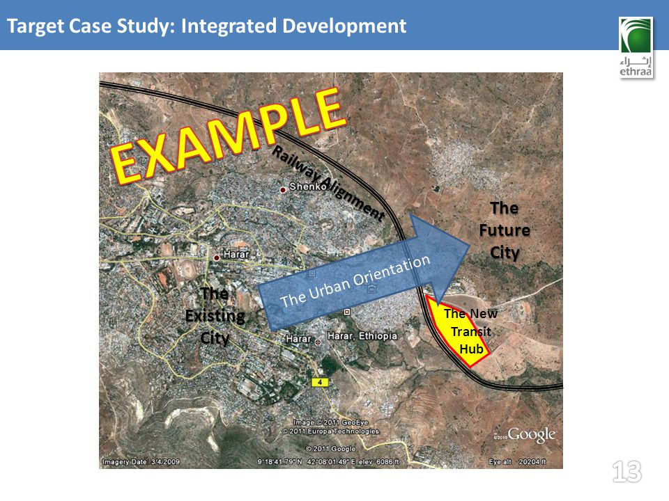 Target Case Study: Integrated Development Railway Alignment The New Transit Hub The Existing City The Urban Orientation The Future City