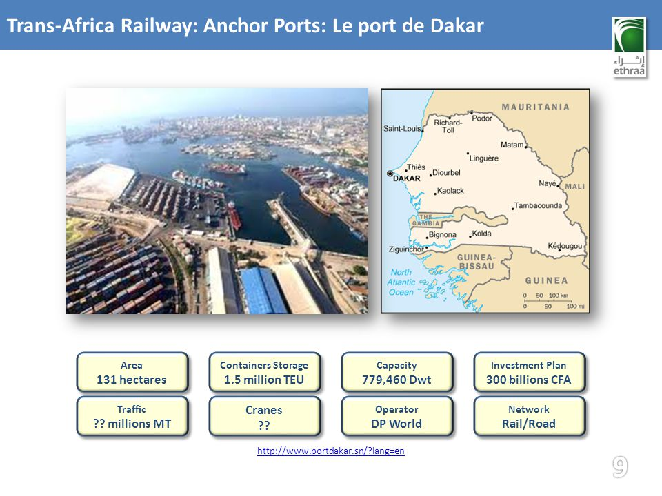 Trans-Africa Railway: Anchor Ports: Le port de Dakar Network Rail/Road Network Rail/Road Capacity 779,460 Dwt Capacity 779,460 Dwt Operator DP World Operator DP World Investment Plan 300 billions CFA Investment Plan 300 billions CFA Containers Storage 1.5 million TEU Containers Storage 1.5 million TEU Area 131 hectares Area 131 hectares Traffic .