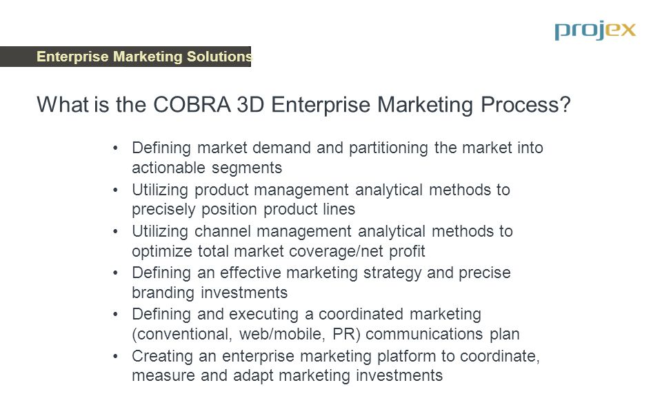 Enterprise Marketing Solutions Three Dimensions of the Enterprise Marketing Process To effectively execute a winning business strategy, marketing management must be planned and executed in three dimensions: Analytical processes Branding processes Technology execution