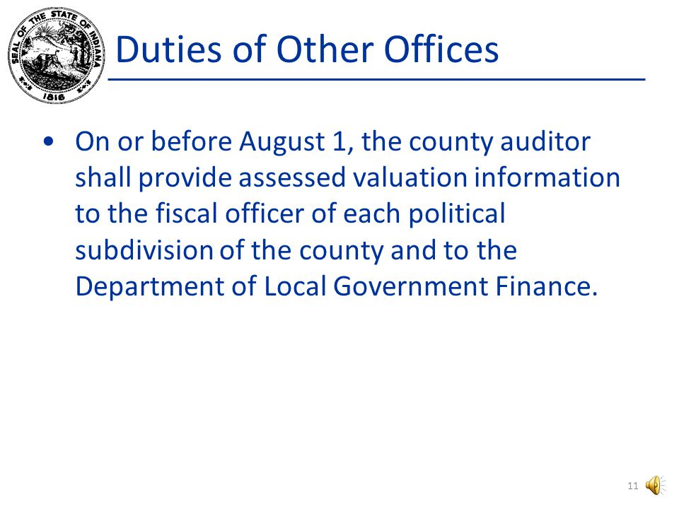 Duties of Other Offices On or before June 1 – A township assessor, if any, shall deliver a list of timely filed personal property assessments to the county assessor.