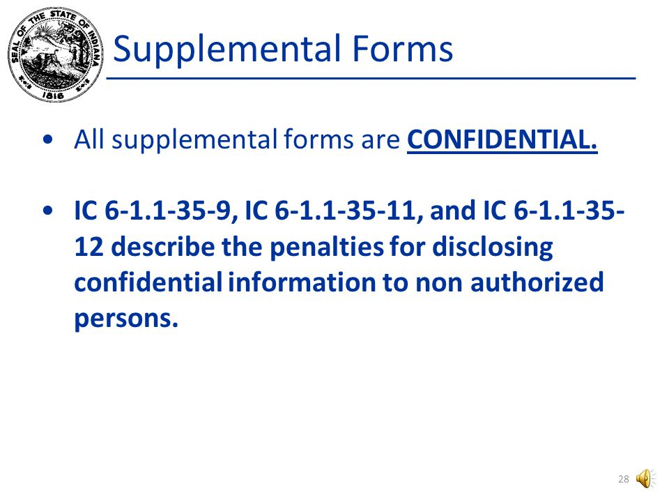 Supplemental Forms The supplemental forms are attached to the Forms 102 and 103 to explain any adjustments, additions or deductions.