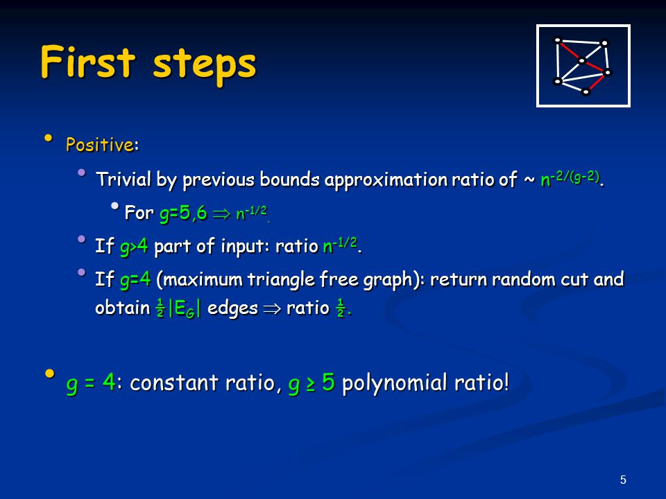 5 First steps Positive: Positive: Trivial by previous bounds approximation ratio of ~ n -2/(g-2).