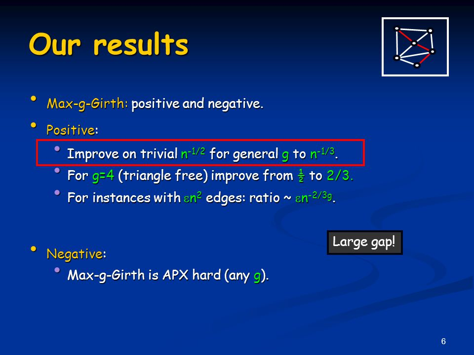 6 Our results Max-g-Girth: positive and negative. Max-g-Girth: positive and negative.