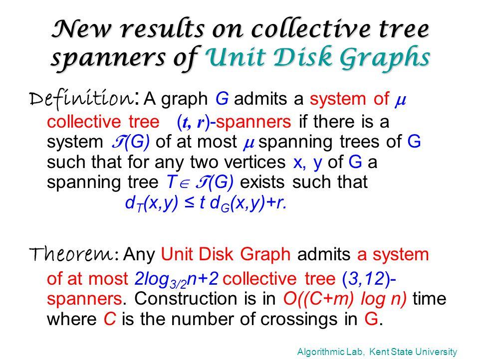 Algorithmic Lab, Kent State University Planar Graphs Two shortest paths balanced separator Unit Disk Graphs r x y P1P1 P2P2 ≤ 2n/3 S √n balanced separator O(log n) trees giving x 3 O(√n) trees giving +0 .