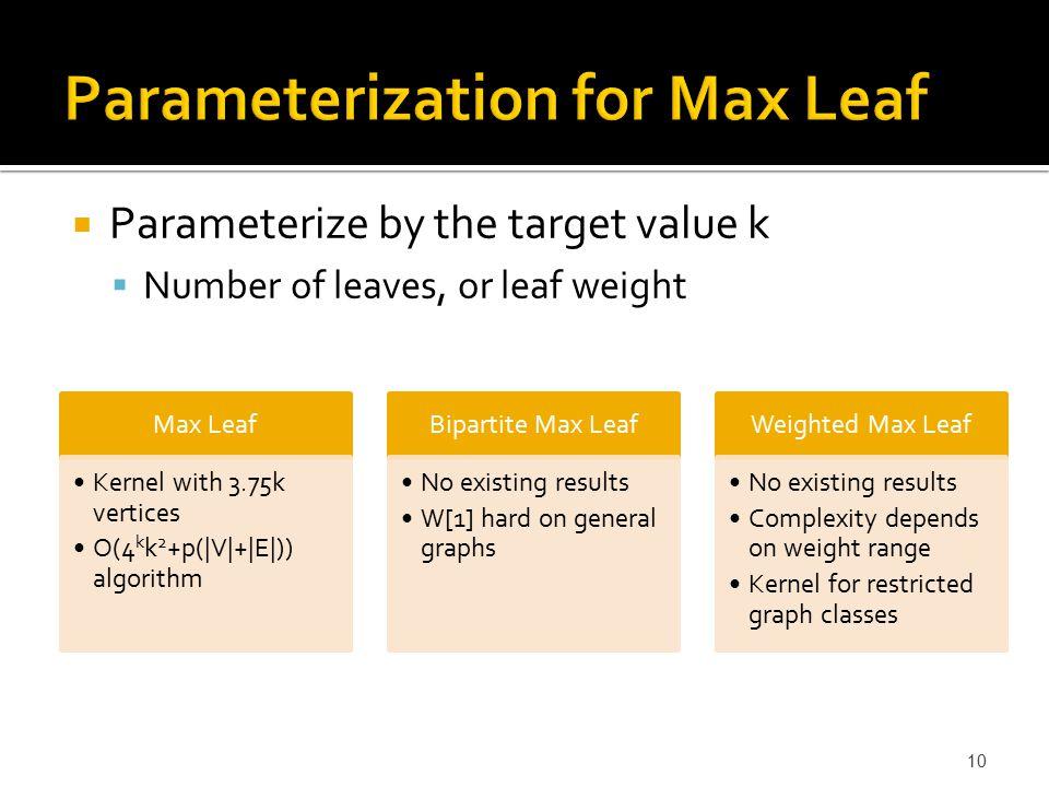  Parameterize by the target value k  Number of leaves, or leaf weight 10 Max Leaf Kernel with 3.75k vertices O(4 k k 2 +p( V + E )) algorithm Bipart