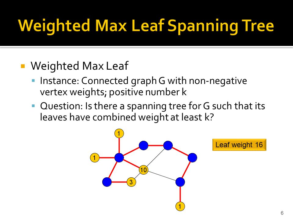  Weighted Max Leaf  Instance: Connected graph G with non-negative vertex weights; positive number k  Question: Is there a spanning tree for G such that its leaves have combined weight at least k.