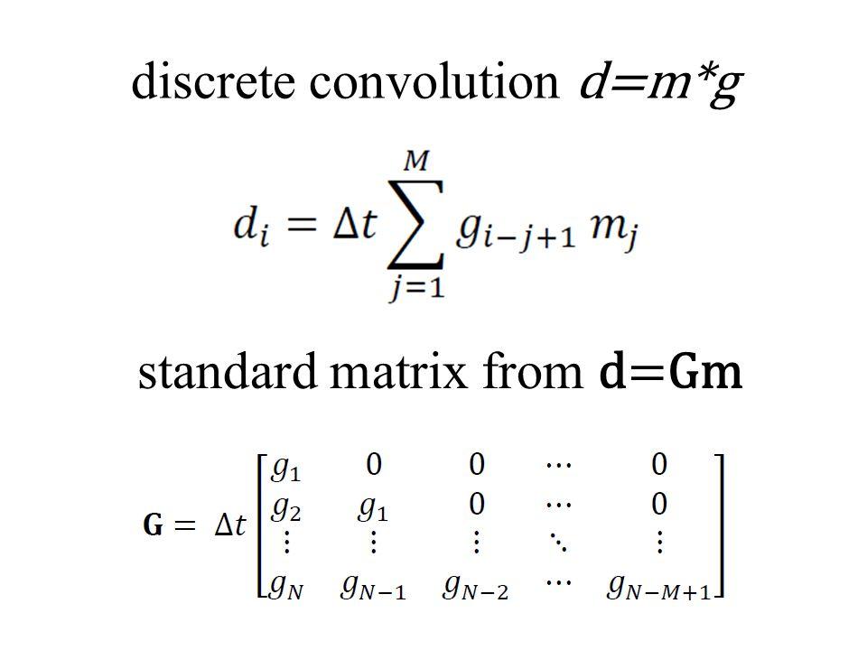 discrete convolution d=m*g standard matrix from d=Gm