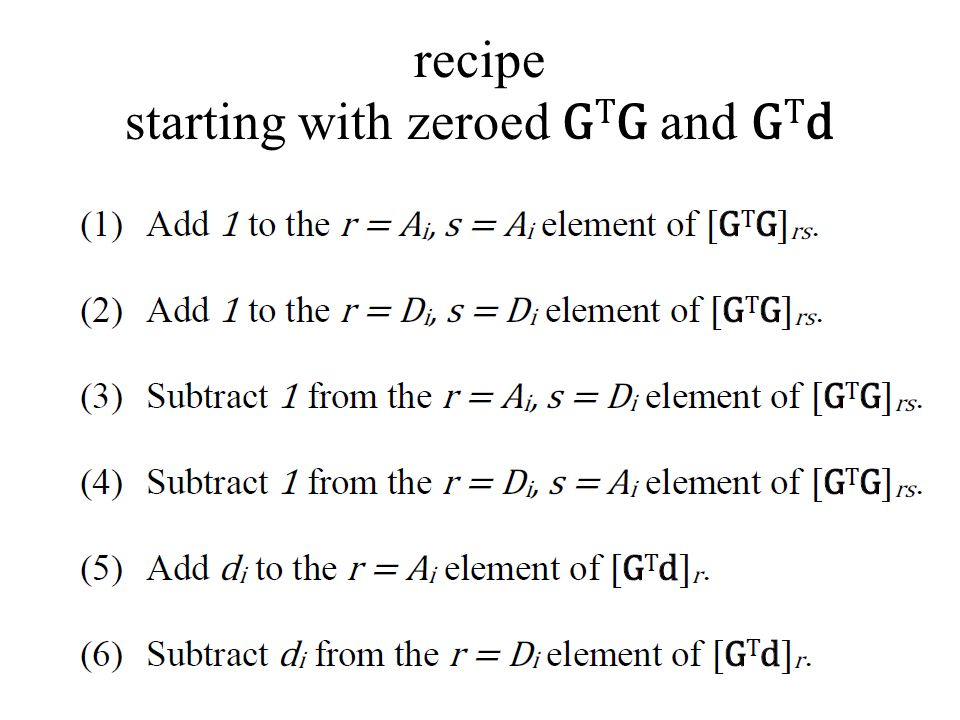 recipe starting with zeroed G T G and G T d