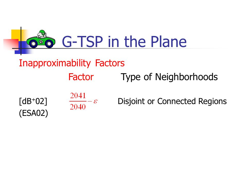 G-TSP in the Plane Inapproximability Factors Factor Type of Neighborhoods [dB + 02]Disjoint or Connected Regions (ESA02)