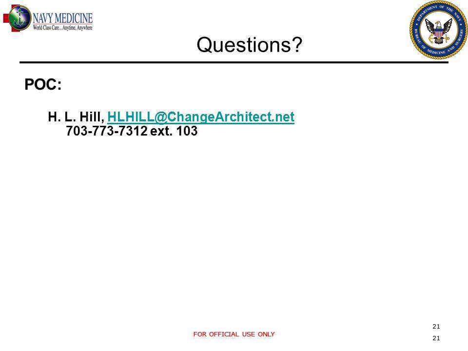 FOR OFFICIAL USE ONLY 21 FOR OFFICIAL USE ONLY 21 Questions? POC: H. L. Hill, HLHILL@ChangeArchitect.netHLHILL@ChangeArchitect.net 703-773-7312 ext. 1