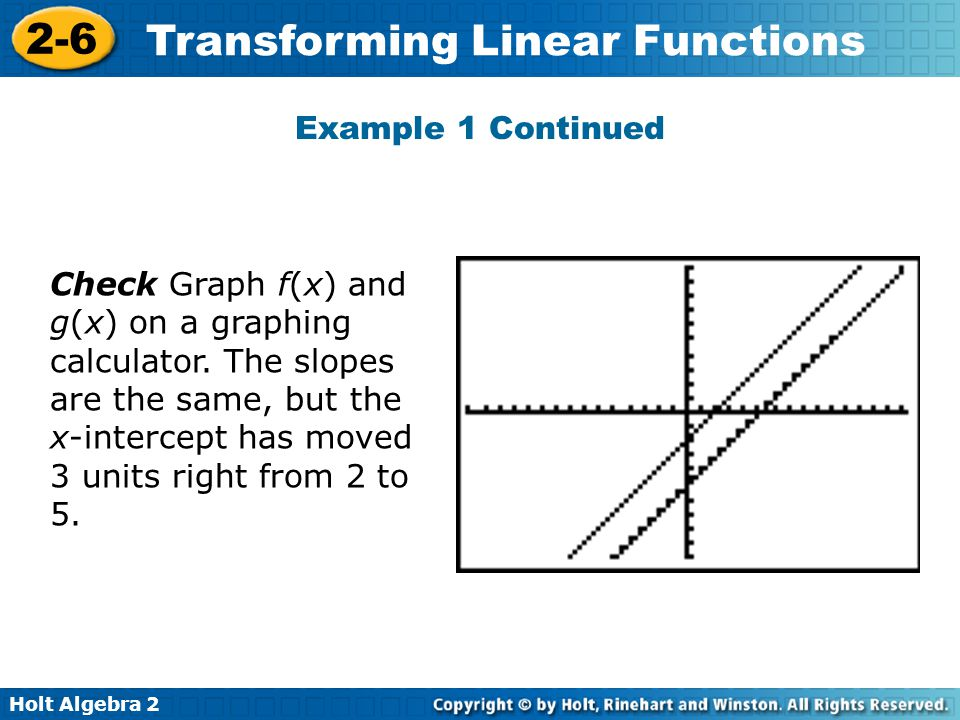 Holt Algebra 2 2-6 Transforming Linear Functions Example 1 Continued Check Graph f(x) and g(x) on a graphing calculator. The slopes are the same, but