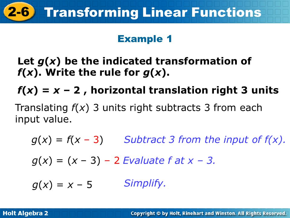 Holt Algebra 2 2-6 Transforming Linear Functions Example 1 Continued Check Graph f(x) and g(x) on a graphing calculator.