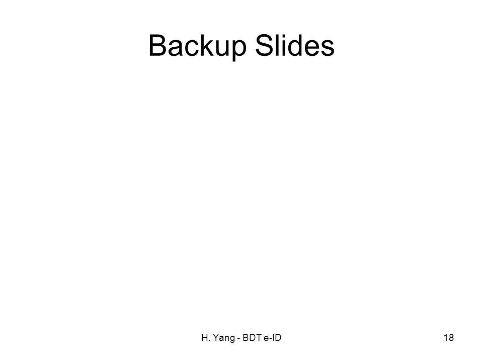 H. Yang - BDT e-ID18 Backup Slides