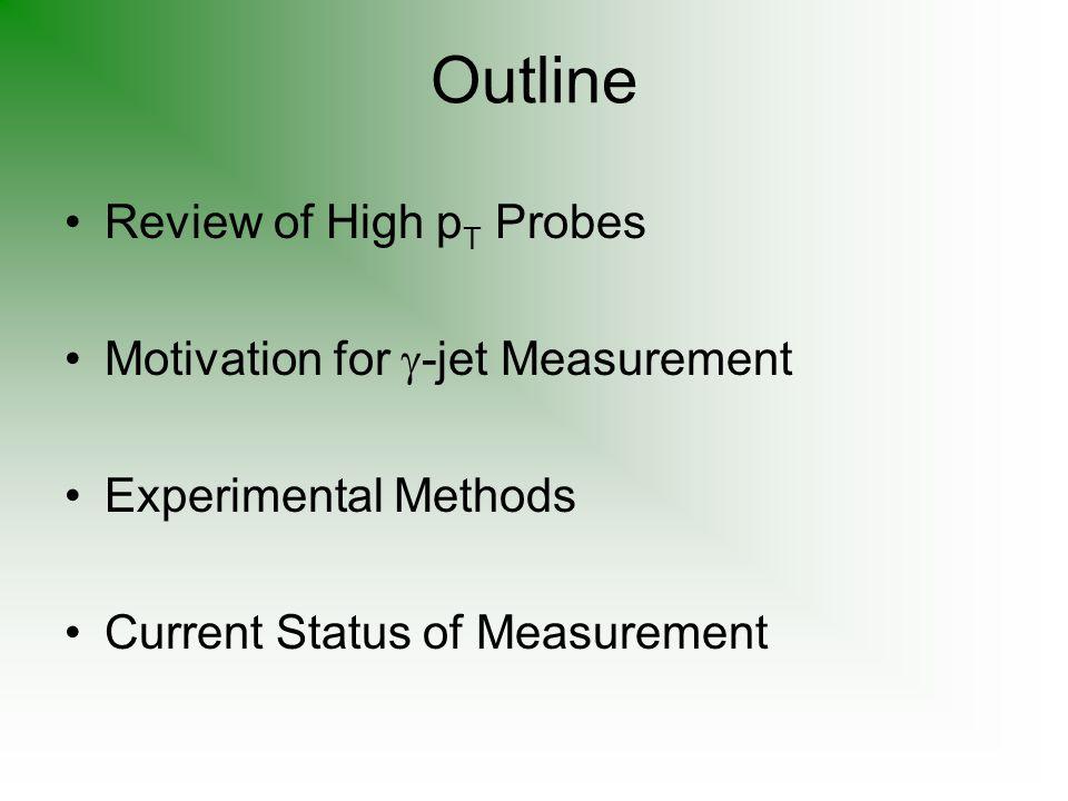 Outline Review of High p T Probes Motivation for  -jet Measurement Experimental Methods Current Status of Measurement