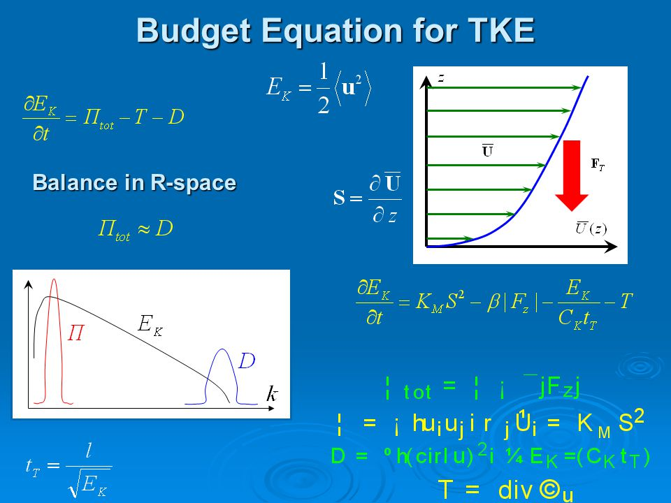 Budget Equation for TKE Balance in R-space