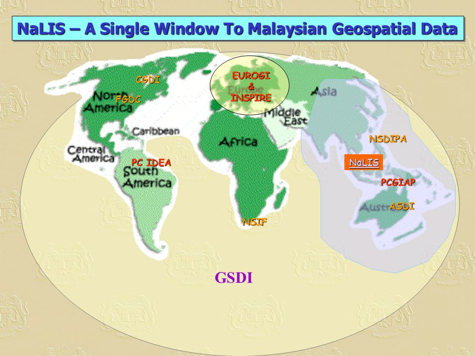 NSIF FGDC EUROGI&INSPIRE PCGIAP ASDI NaLIS NSDIPA CGDI GSDI PC IDEA NaLIS – A Single Window To Malaysian Geospatial Data