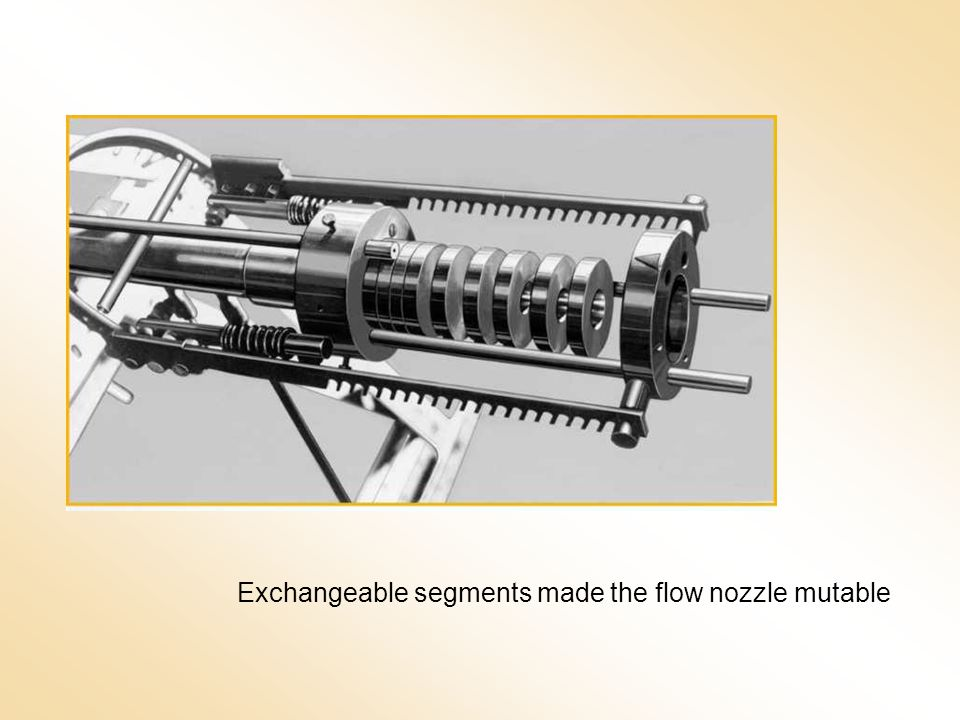 Exchangeable segments made the flow nozzle mutable