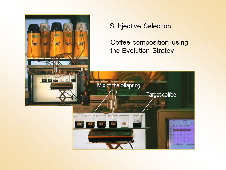 Subjective Selection Coffee-composition using the Evolution Stratey Target coffee Mix of the offspring