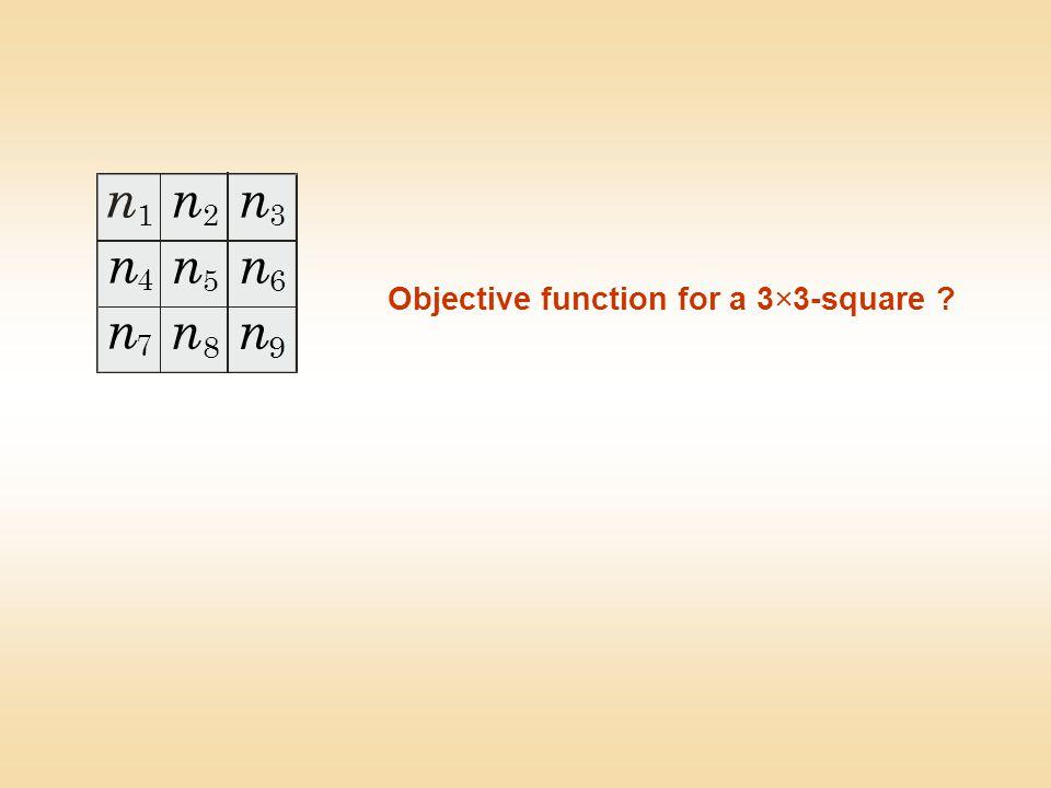 Objective function for a 3  3-square ? n n 1 4 7 2 5 8 3 6 9 n n n n n n