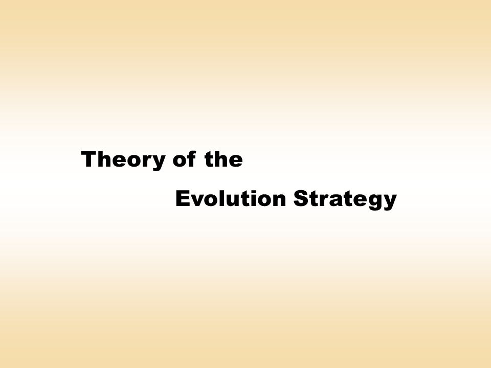 Theory of the Evolution Strategy