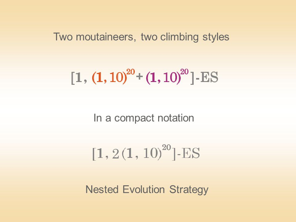 In a compact notation Nested Evolution Strategy Two moutaineers, two climbing styles 2