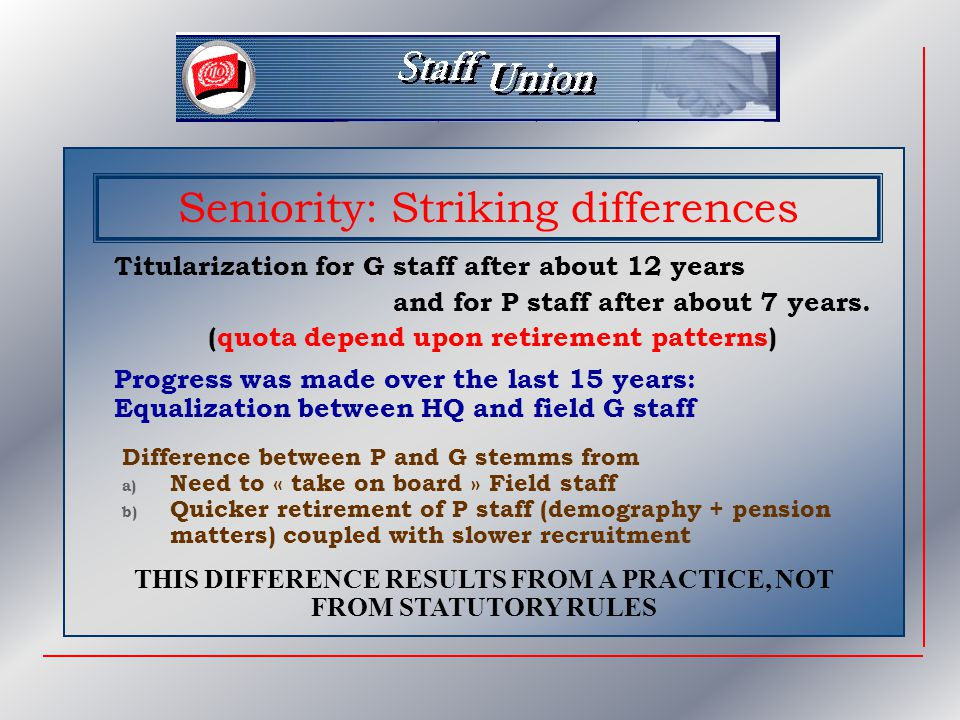 Seniority: Striking differences Titularization for G staff after about 12 years and for P staff after about 7 years.