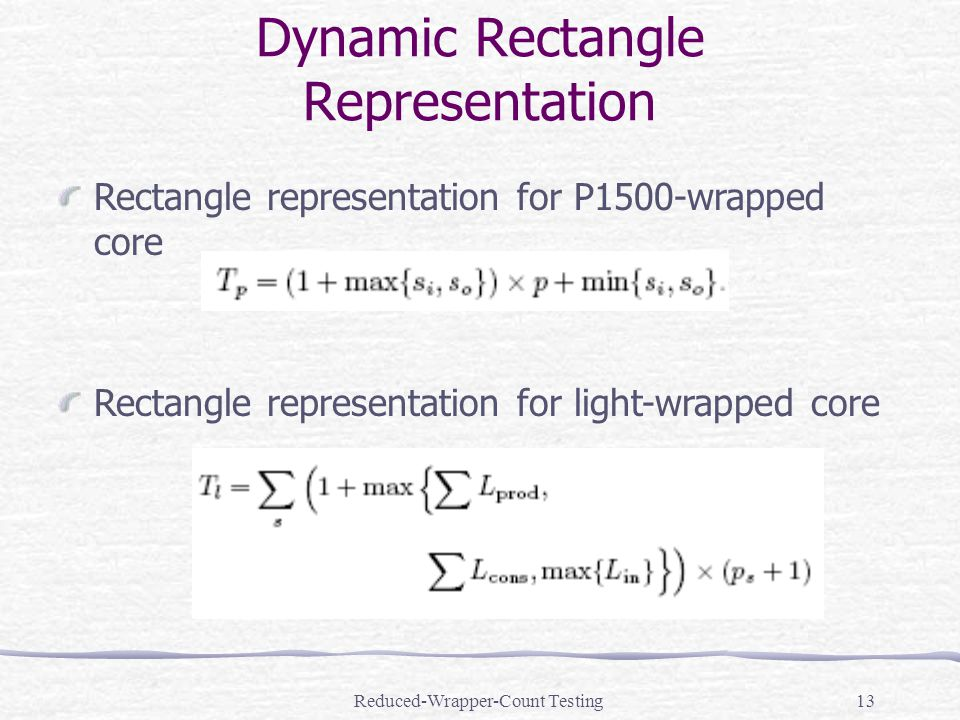 Reduced-Wrapper-Count Testing13 Rectangle representation for P1500-wrapped core Rectangle representation for light-wrapped core Dynamic Rectangle Representation