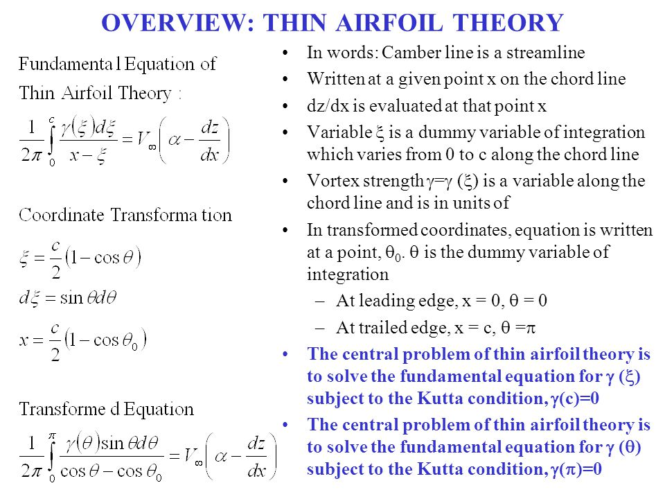 SAMPLE DATA: SYMMETRIC AIRFOIL Lift Coefficient Angle of Attack,  A symmetric airfoil generates zero lift at zero 