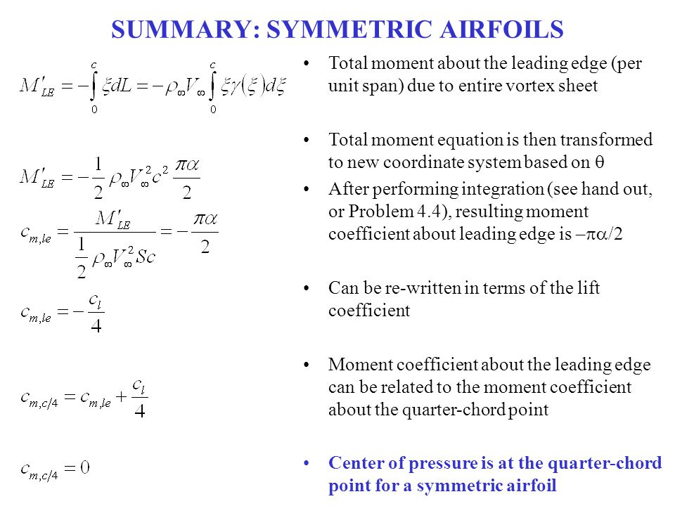 SUMMARY: SYMMETRIC AIRFOILS Total moment about the leading edge (per unit span) due to entire vortex sheet Total moment equation is then transformed t