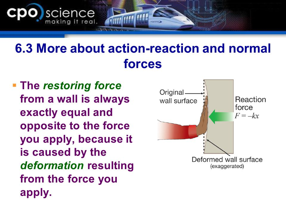 6.3 More about action-reaction and normal forces  The restoring force from a wall is always exactly equal and opposite to the force you apply, becaus