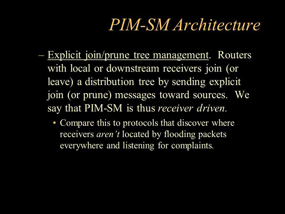 PIM-SM Architecture –Explicit join/prune tree management.