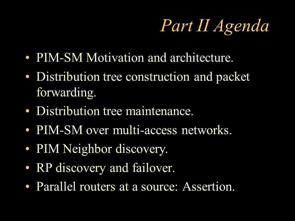 Part II Agenda PIM-SM Motivation and architecture.