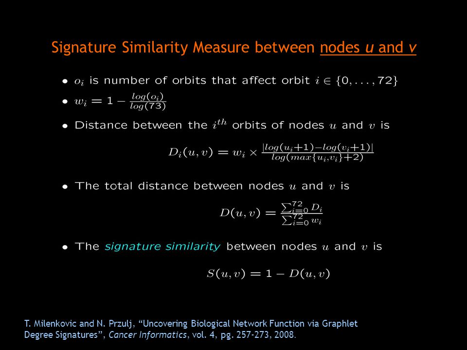 Signature Similarity Measure between nodes u and v
