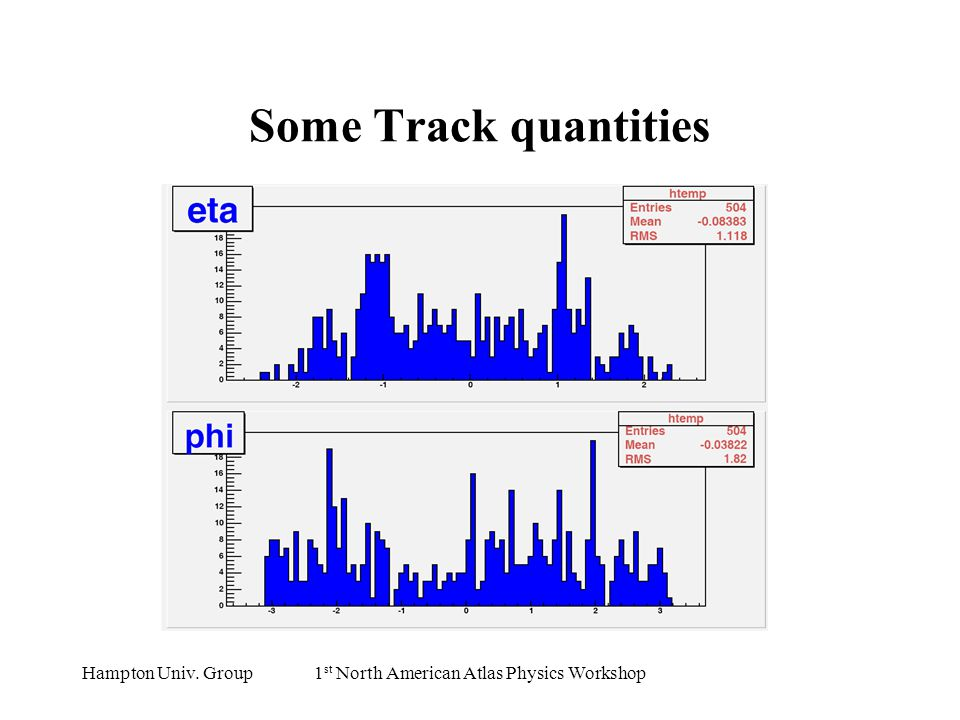Hampton Univ. Group1 st North American Atlas Physics Workshop Some Track quantities