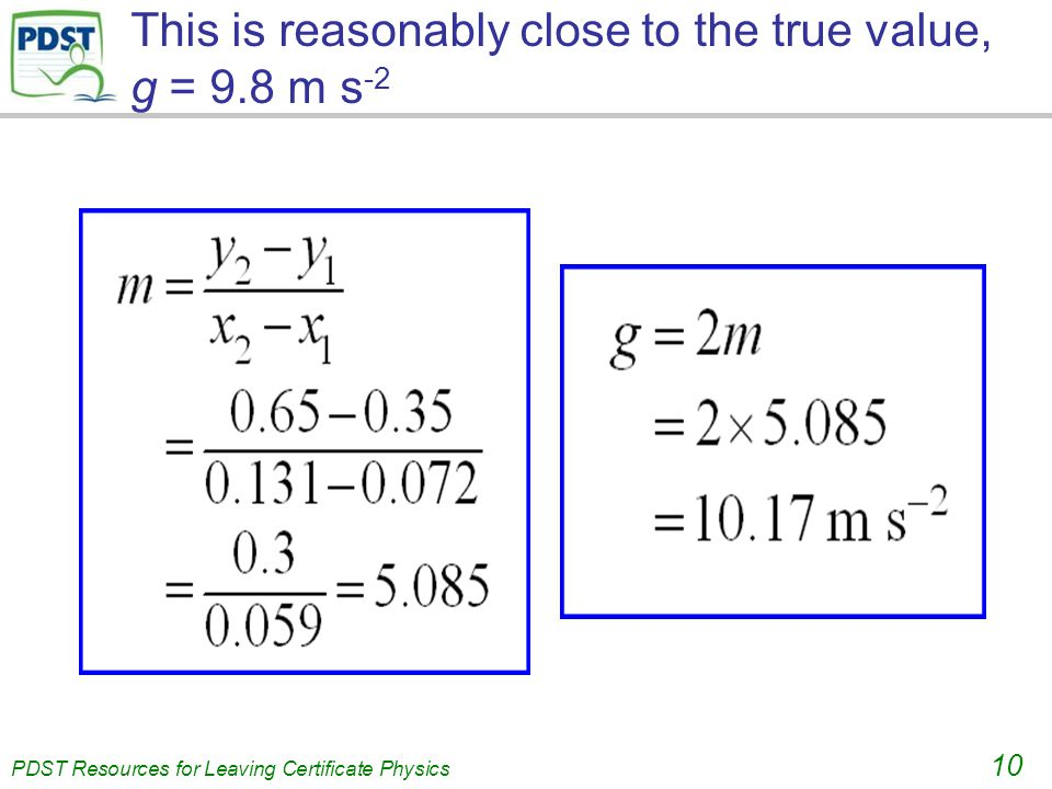 . PDST Resources for Leaving Certificate Physics 10 This is reasonably close to the true value, g = 9.8 m s -2