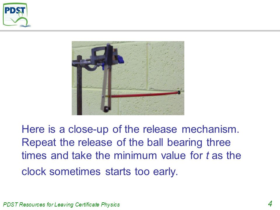 PDST Resources for Leaving Certificate Physics 4 Here is a close-up of the release mechanism.