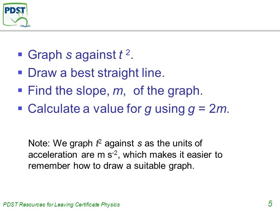 PDST Resources for Leaving Certificate Physics 5  Graph s against t 2.