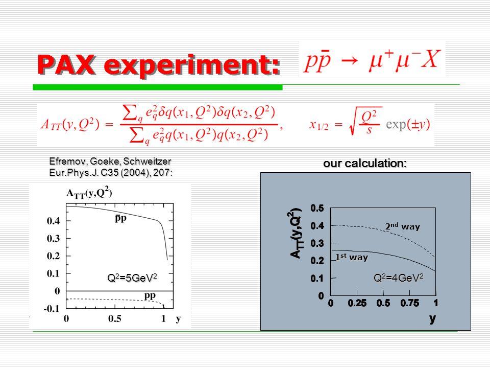 PAX experiment: Q 2 =4GeV 2 Q 2 =5GeV 2 Efremov, Goeke, Schweitzer Eur.Phys.J. C35 (2004), 207: our calculation: 1 st way 2 nd way