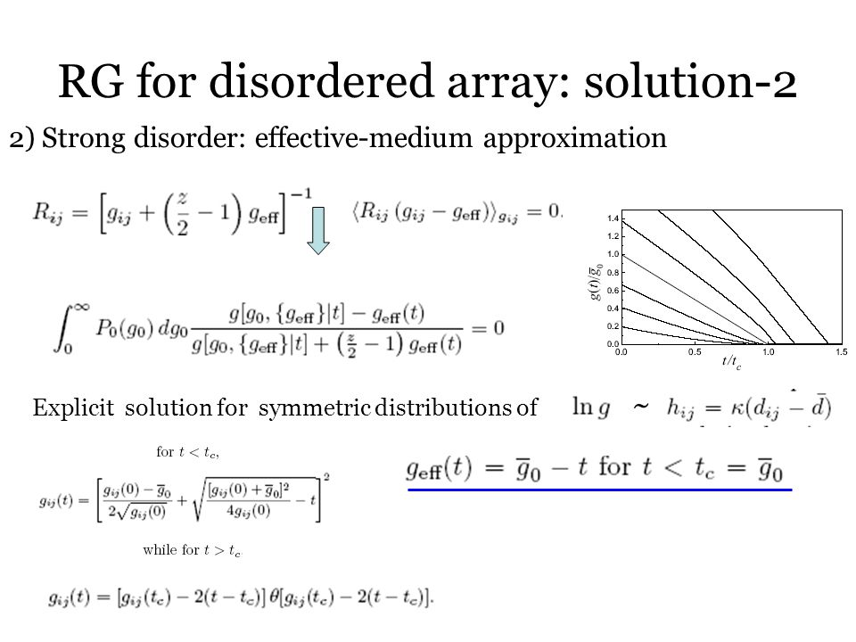RG for disordered array: solution-2 2) Strong disorder: effective-medium approximation Explicit solution for symmetric distributions of ~