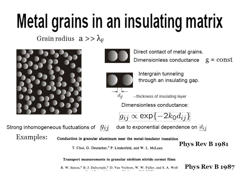 g ≈ const Examples: Phys Rev B 1987 Phys Rev B 1981 Grain radius a >> λ F