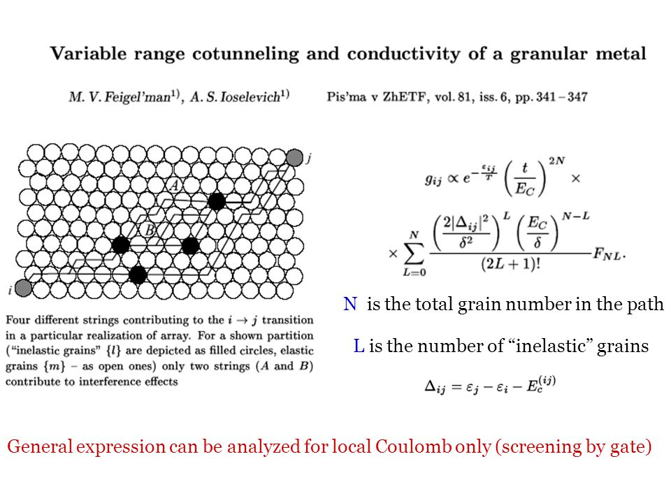 L is the number of inelastic grains N is the total grain number in the path General expression can be analyzed for local Coulomb only (screening by gate)