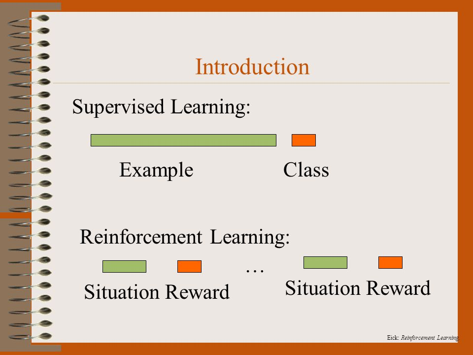Eick: Reinforcement Learning. Introduction Supervised Learning: Example Class Reinforcement Learning: Situation Reward …