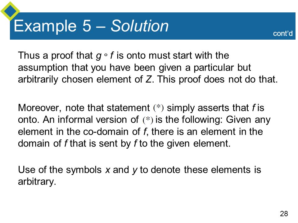 28 Example 5 – Solution Thus a proof that g  f is onto must start with the assumption that you have been given a particular but arbitrarily chosen el