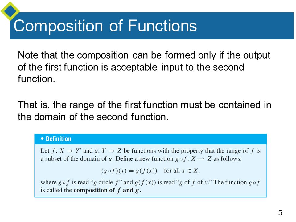 5 Composition of Functions Note that the composition can be formed only if the output of the first function is acceptable input to the second function